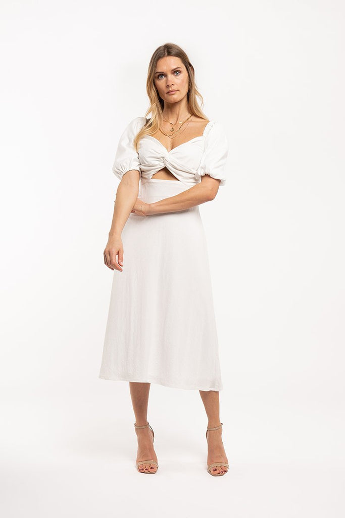 Knot detail midi dress - White - CARSI Collection