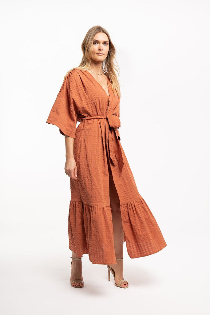 Long belted kimono - Rust orange - CARSI Collection
