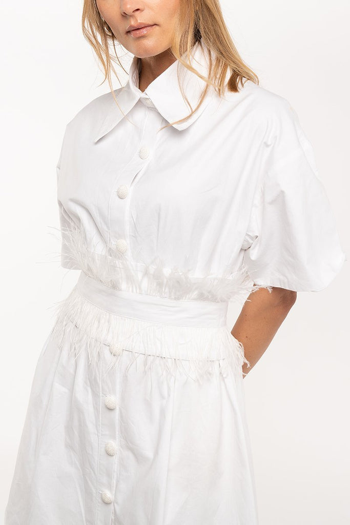 Mini shirt dress with feather belt - White - CARSI Collection