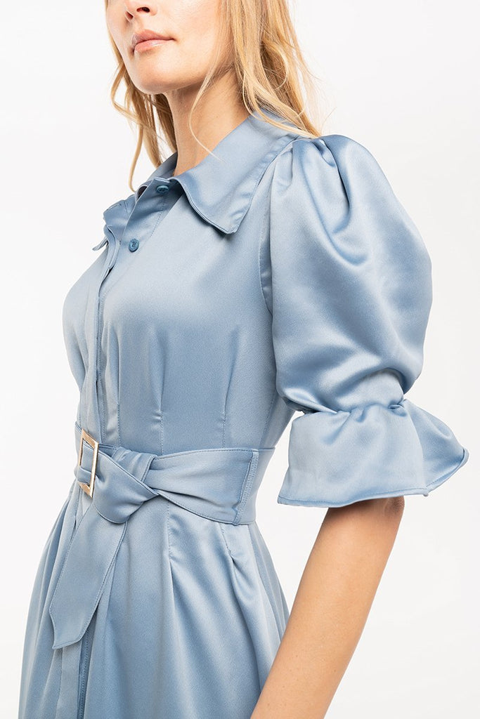 Satin midi shirtdress - Blue - CARSI Collection