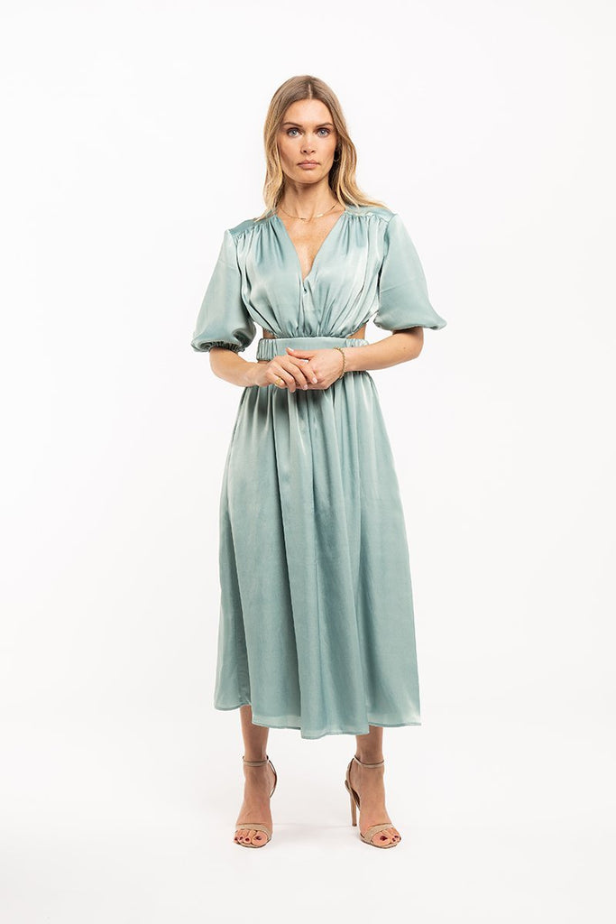 V-neck satin midi dress - Turquoise - CARSI Collection
