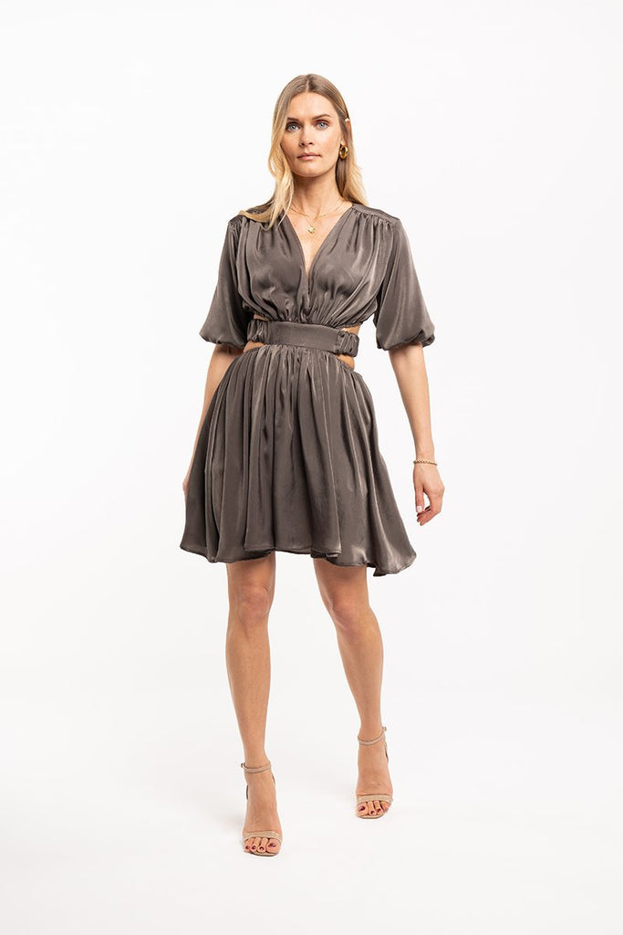 V-neck satin mini dress - Khaki - CARSI Collection