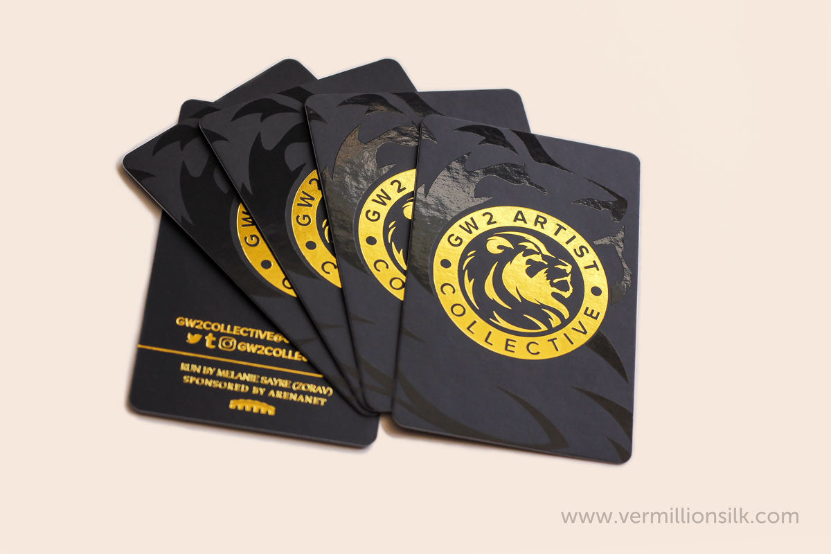 spot UV and gold foil business cards