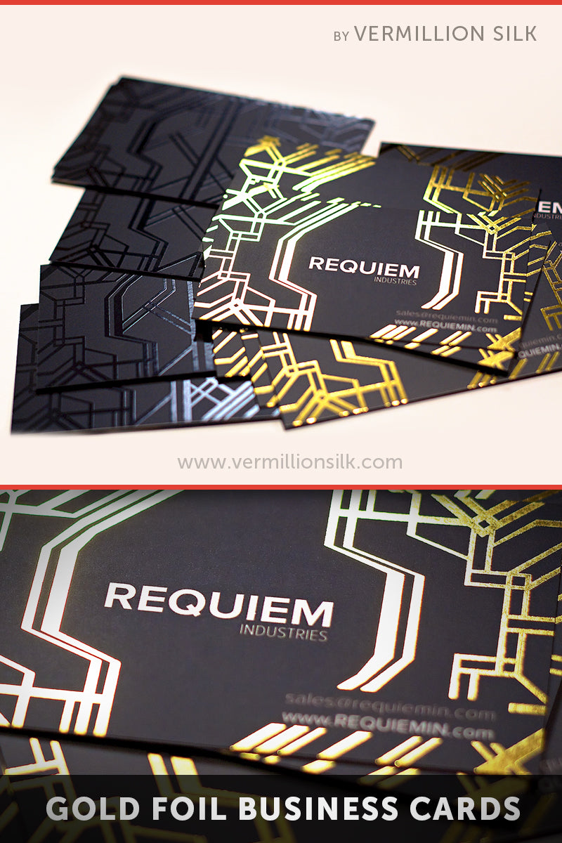 Gold foil stamped business cards with silk lamination