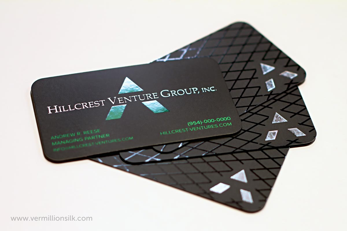 silver foil business cards with spot uv and rounded corners on both sides