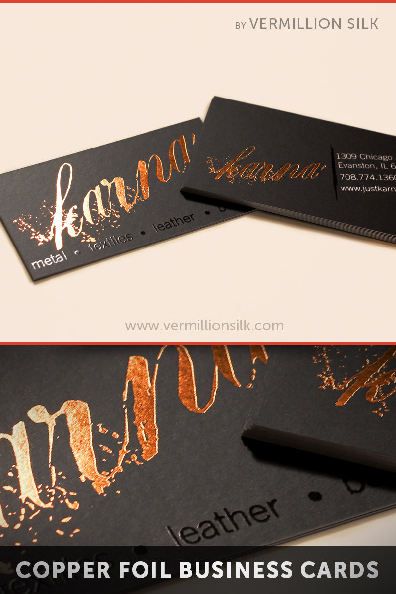 Black business cards with distressed copper foil stamping