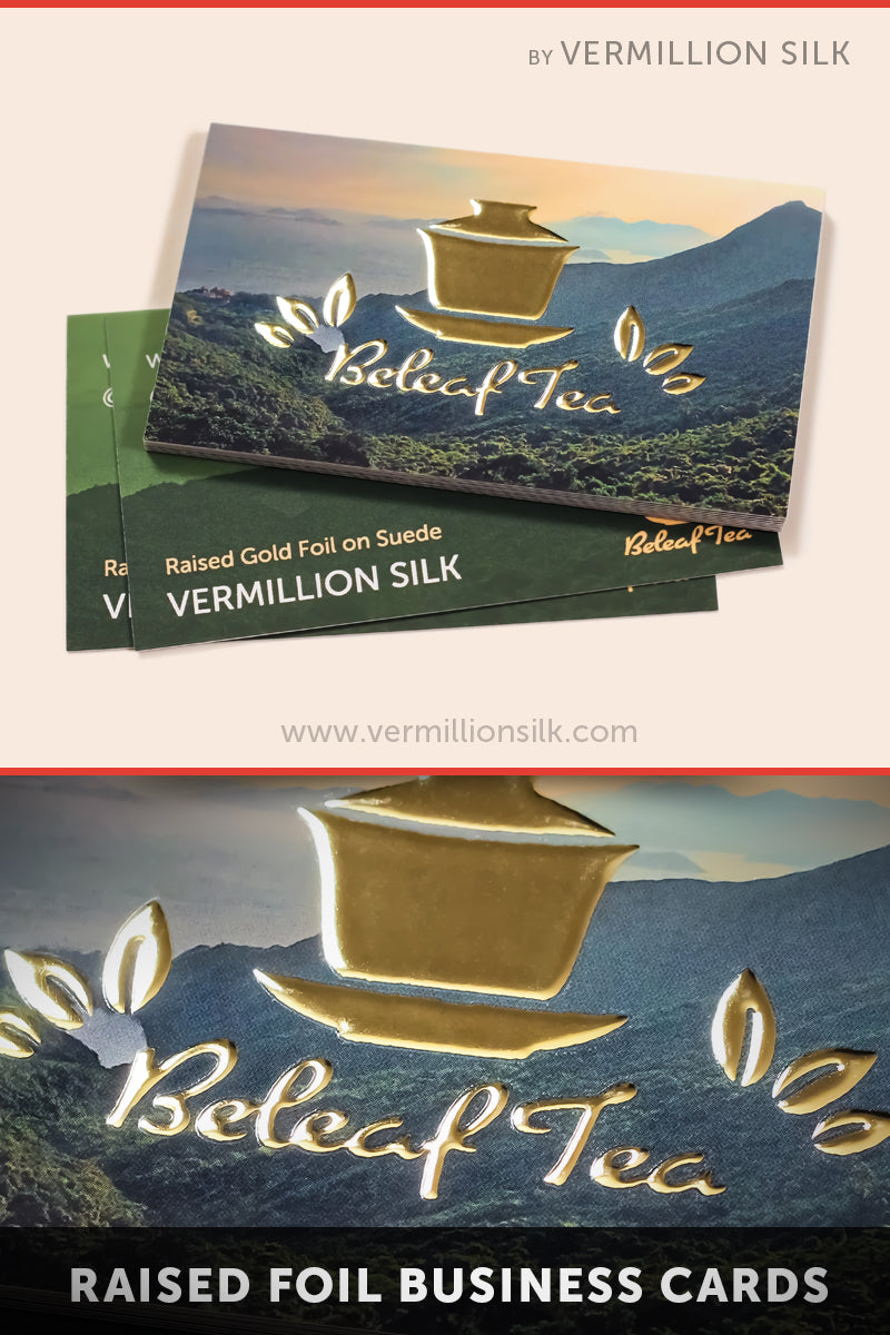raised foil business cards with suede lamination finish