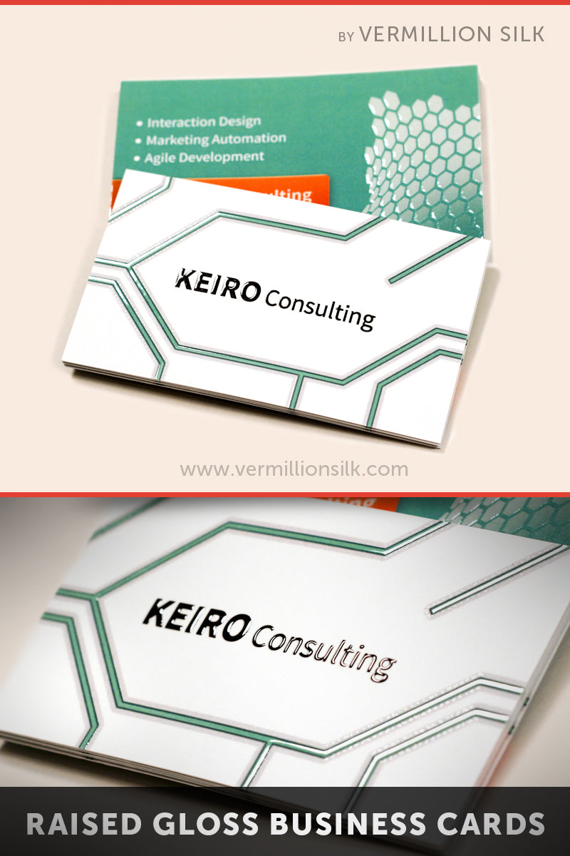 Suede business cards with raised gloss