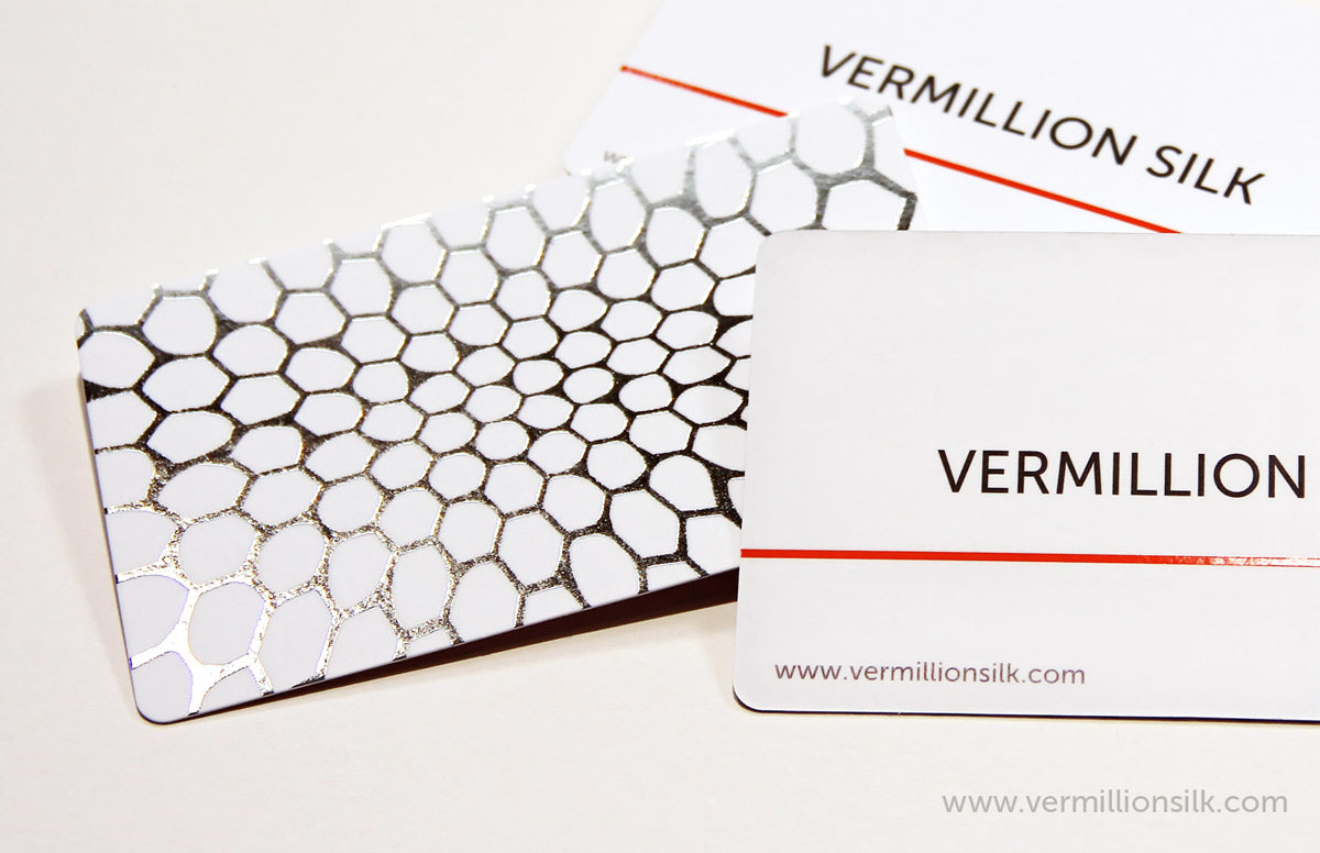 silver foil business cards photo