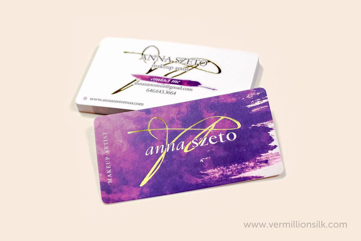 gold foil business cards with silk lamination and rounded corners gold business cards both sides