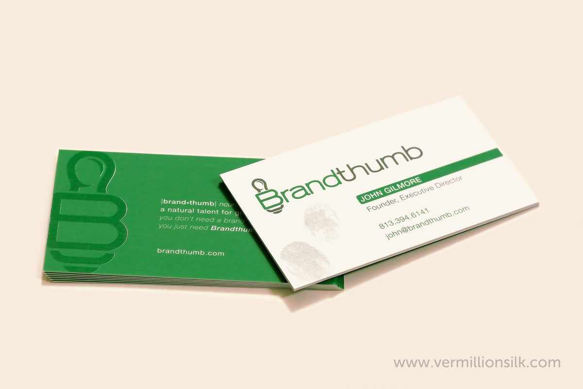 unique suede business cards with green and white