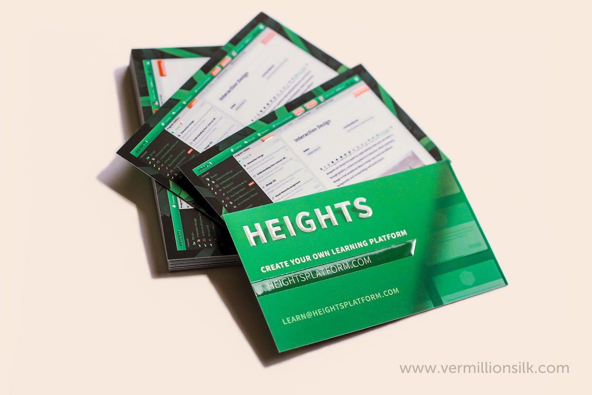 heights platform suede business cards with raised gloss raised spot UV