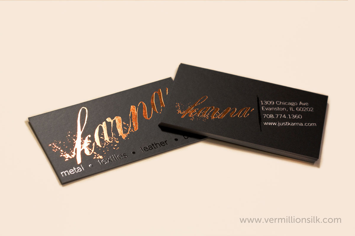 black silk business cards with copper foil and spot uv