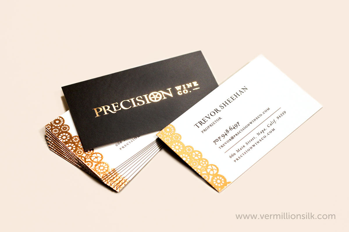 copper foil white and black silk business cards