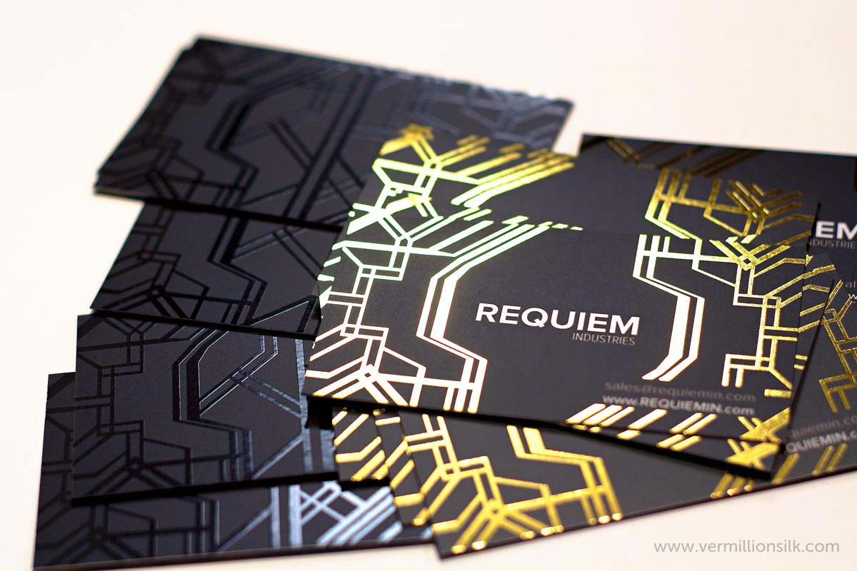 Gold foil business cards, black with spot UV