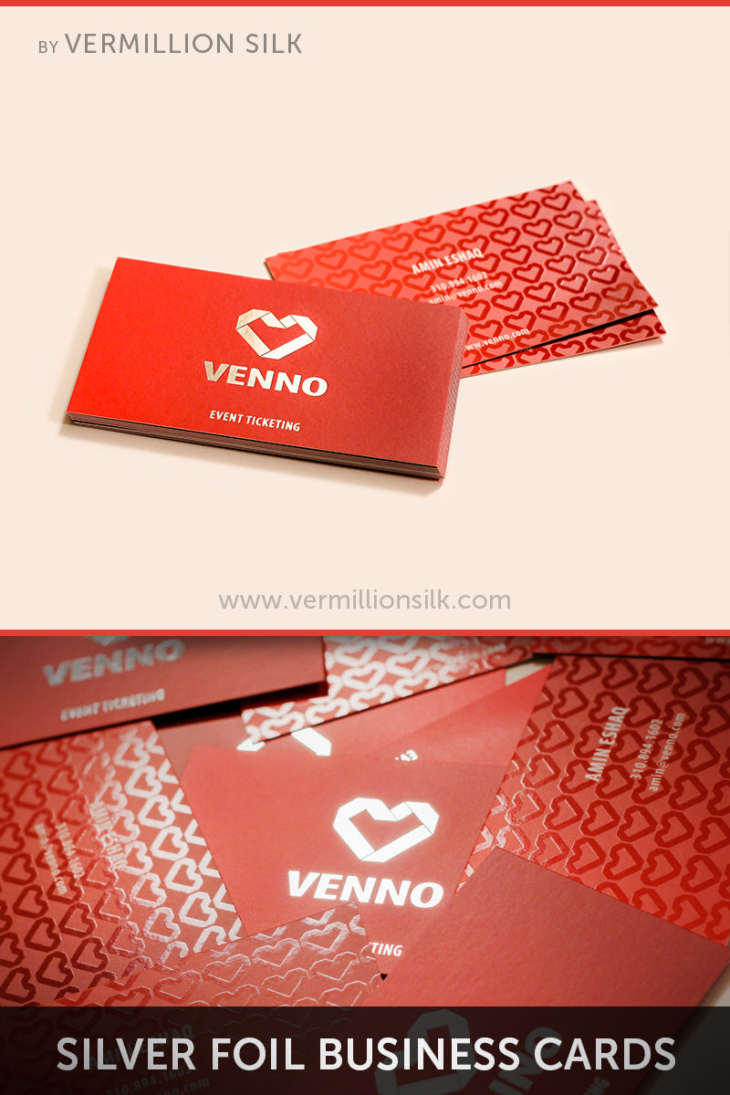 silver foil silk business cards with spot gloss