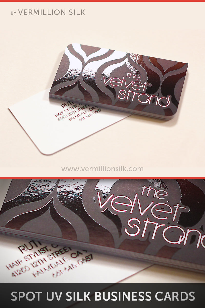 silver foil silk business cards with spot uv gloss