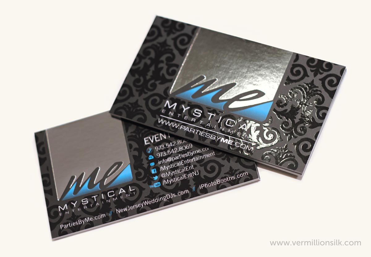luxury silver foil business card with silk and spot uv