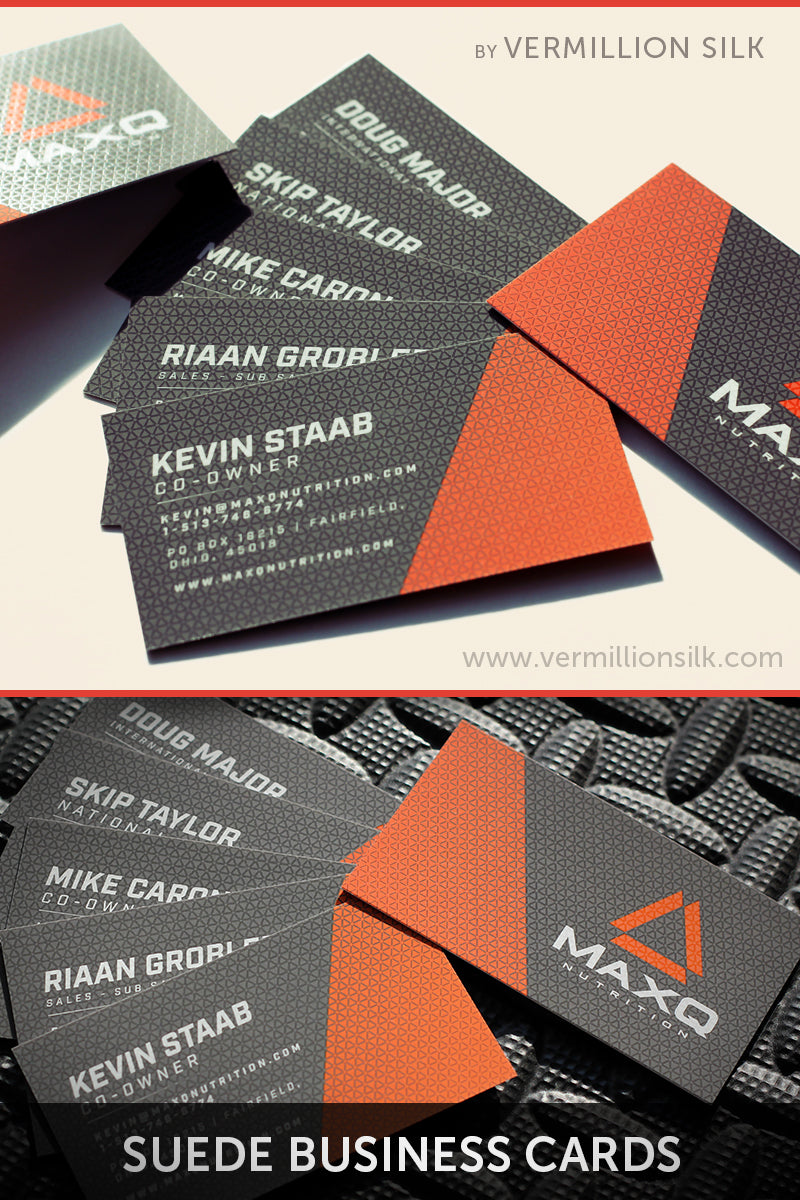 suede business cards with spot gloss