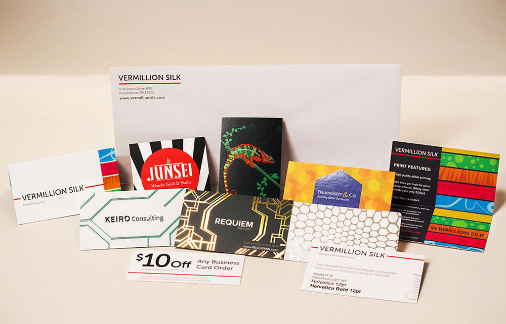 luxury silk and suede business card sample pack