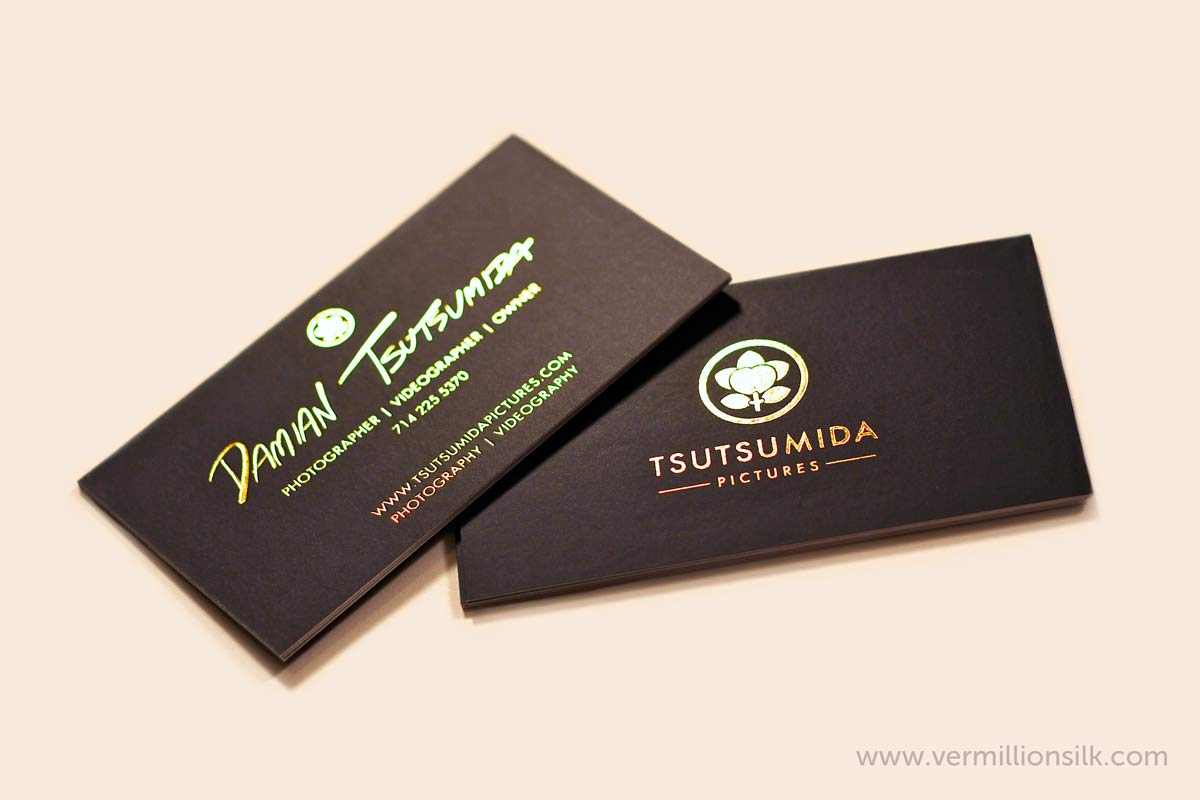gold foil business cards with black ink double sided