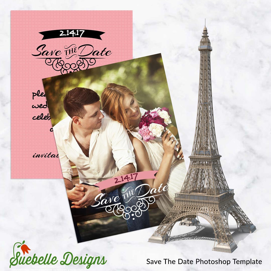 Save the date templates suebelledesigns save the date photoshop template 001 pronofoot35fo Images