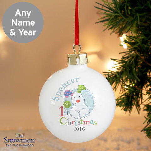 Personalised The Snowdog My 1st Christmas Bauble Blue