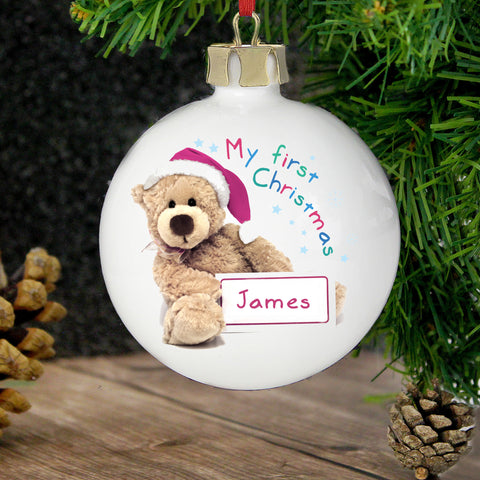 Personalised Teddy My 1st Christmas Bauble Gift