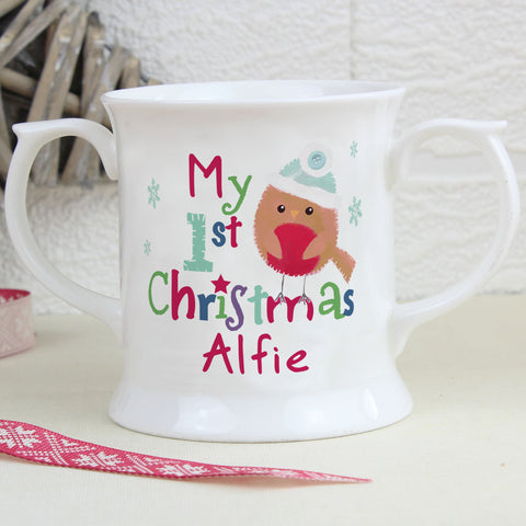 Personalised Felt Stitch Robin My 1st Christmas Loving Mug