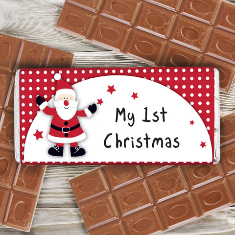Spotty Santa Chocolate Bar Present