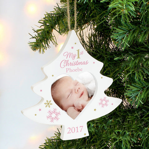 Personalised Photo Frame My 1st Christmas Tree Decoration Pink