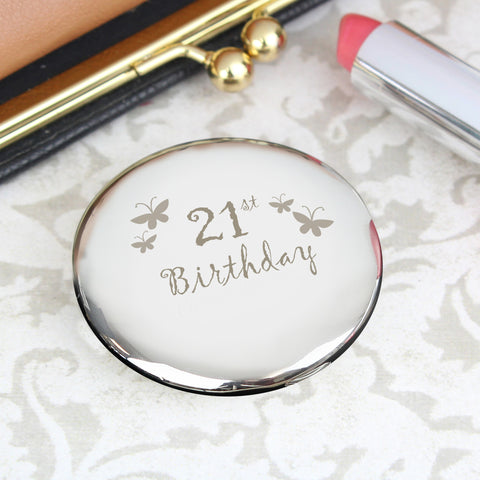 21st Birthday Butterfly Round Compact