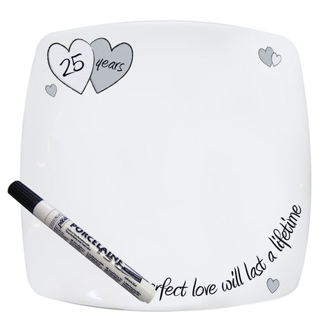 Perfect Love Silver Anniversary Message Plate Gift