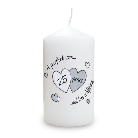 Perfect Love Silver Anniversary Candle Gift