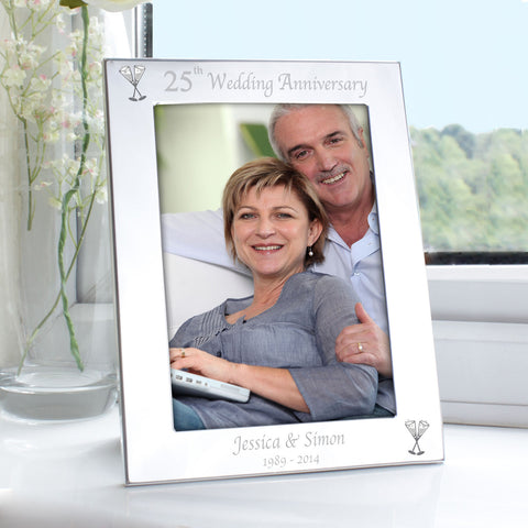 Personalised Silver 25th Wedding Anniversary Photo Frame Gift