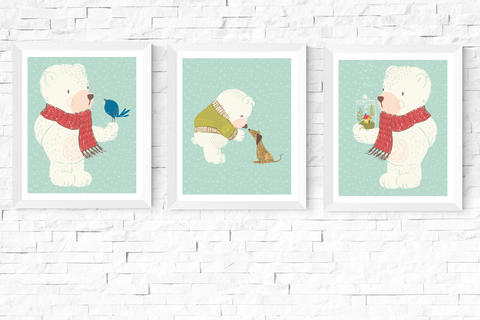 3 Cute Bears Nursery Art Printables Blue