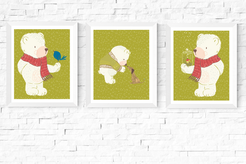 3 Cute Bears Nursery Art Printables Green