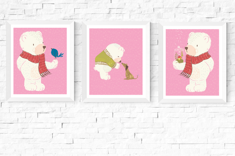 3 Cute Bears Pink Nursery Art Printables