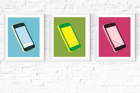 Pop Art Smart Phone Printables Set of 3