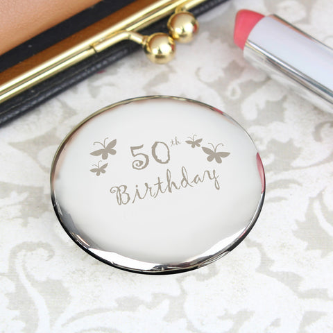 50th Birthday Butterfly Round Compact Mirror