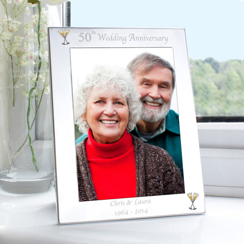 Personalised Silver 50th Wedding Anniversary Photo Frame Gift