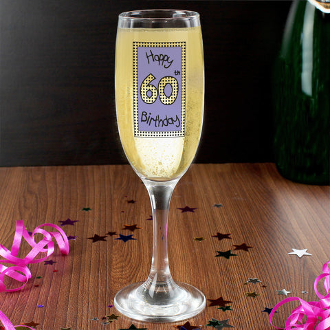 Lilac Happy 60th Birthday Champagne Flute