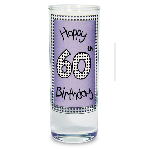 Lilac Happy 60th Birthday Shot Glass Gift