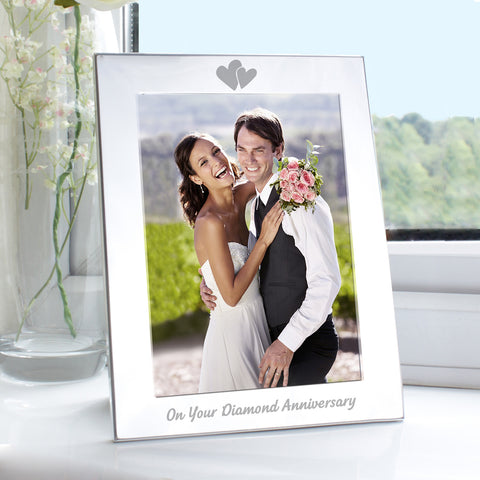 Silver Diamond Anniversary Photo Frame