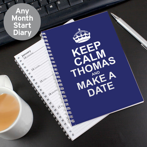 Personalised Blue Keep Calm Diary