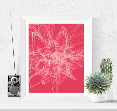 Abstract Line Art Printable Red