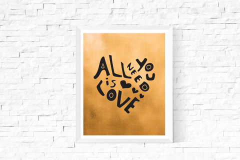 All You Need is Love Heart Art Printable Black and Gold