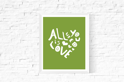 All You Need is Love Heart Art Printable White and Green