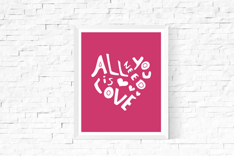 All You Need is Love Heart Art Printable White and Pink