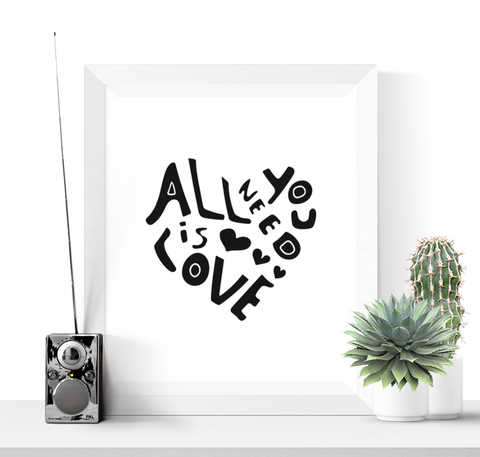 All You Need is Love Heart Art Printable Black and White